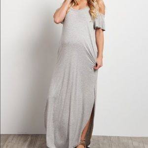 PinkBlush Gray Cold Shoulder Maternity Maxi Dress